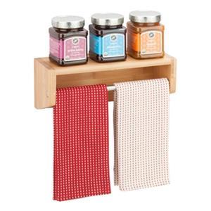 Honey Can Do Bamboo Wall Shelf with Chrome Bar