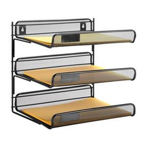 Honey Can Do 12.50-in x 2.91-in Black 3 Tier Mesh Desk Organizer