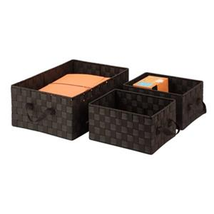 Honey Can Do 6.01-in x 3-in Espresso Stacking Baskets
