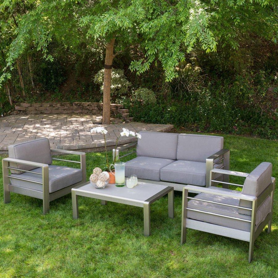 Silver Patio Furniture.Mililani 4 Piece Outdoor Conversation Set Silver