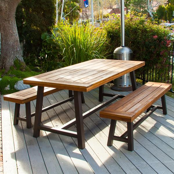 Best Selling Home Decor Carlisle Outdoor Dining Set Rustic Iron Sandblast Wood Lowe S Canada