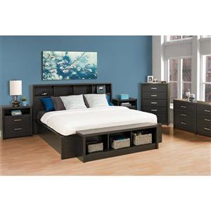 Prepac District Washed Black King Headboard