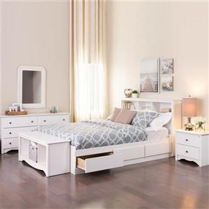 Prepac Monterey Nightstand - 2 Drawers - 23.25-in x 21.75-in x 16-in - White