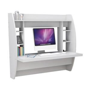 Prepac Transitional White Floating Desk