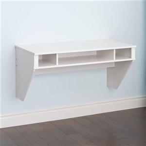 Prepac Designer Transitional Fresh White Floating Desk