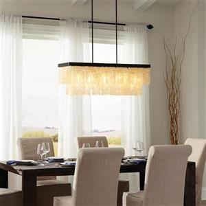Sea Gull Lighting Corsicana 40-in W 5-Light Heirloom Bronze Kitchen Island Light with Shell Shade