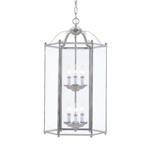 Sea Gull Lighting Bretton Brushed Nickel Transitional Clear Glass Lantern Pendant