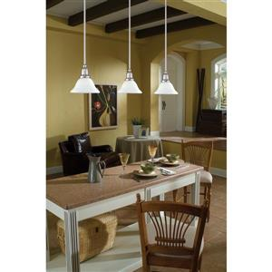 Sea Gull Lighting Sussex Brushed Nickel Mini Transitional White Glass Bell Pendant