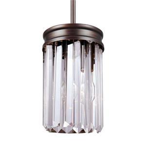Sea Gull Lighting Carondelet Burnt Sienna Mini Transitional Clear Glass Cylinder Pendant