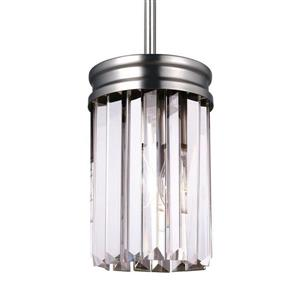 Sea Gull Lighting Carondelet Antique Brushed Nickel Mini Transitional Clear Glass Cylinder Pendant