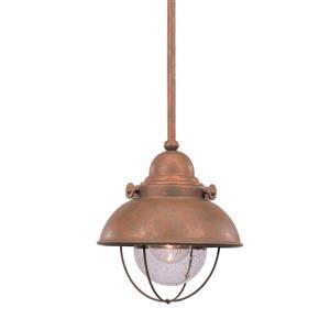 Sea Gull Lighting Sebring Weathered Copper Mini Transitional Seeded Glass Warehouse Pendant
