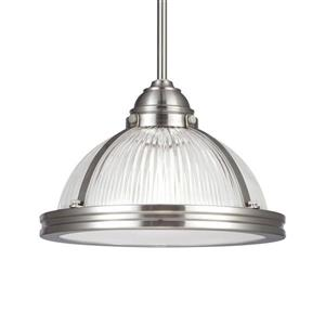 Sea Gull Lighting Pratt Street Brushed Nickel Transitional Ribbed Glass Warehouse Pendant