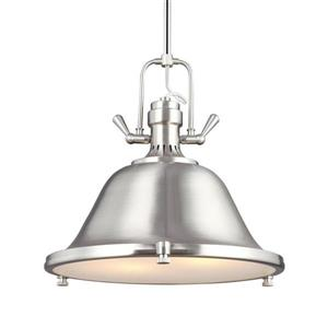 Sea Gull Lighting Stone Street Brushed Nickel Transitional Etched Glass Warehouse Pendant
