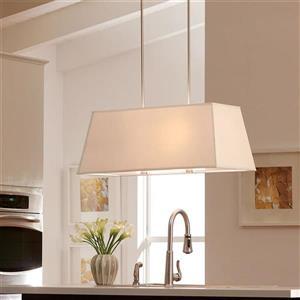 Sea Gull Lighting Dayna Shade 36-in W 4-Light Brushed Nickel Kitchen Island Light with Fabric Shade