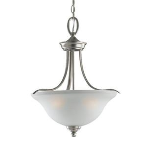 Sea Gull Lighting Wheaton Brushed Nickel Transitional Etched Glass Bowl Pendant