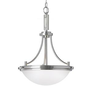Sea Gull Lighting Winnetka Brushed Nickel Modern Etched Glass Dome Pendant