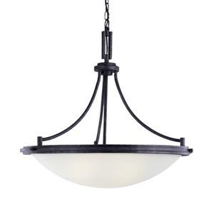 Sea Gull Lighting Winnetka Blacksmith Transitional Etched Glass Bowl Pendant
