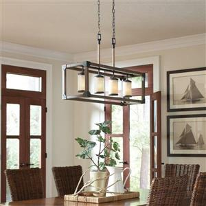 Sea Gull Lighting Dunning 36-in W 4-Light Stardust Kitchen Island Light with Tinted Shade