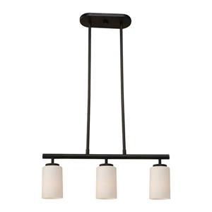 Sea Gull Lighting Oslo 4-in W 3-Light Blacksmith Kitchen Island Light with White Shade