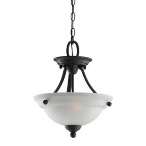 Sea Gull Lighting Wheaton Heirloom Bronze Transitional Etched Glass Bowl Pendant