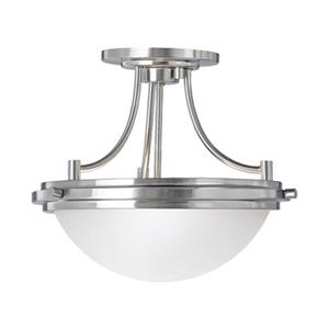 Sea Gull Lighting Winnetka Brushed Nickel Modern Etched Glass Bowl Pendant