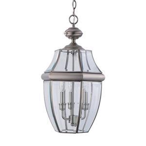 Sea Gull Lighting Lancaster Antique Brushed Nickel Transitional Beveled Glass Lantern Pendant