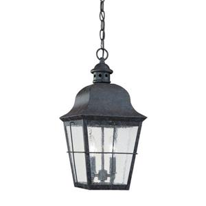 Sea Gull Lighting Chatham Oxidized Bronze Mini Transitional Seeded Glass Lantern Pendant