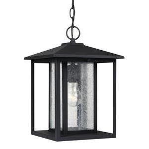Sea Gull Lighting Hunnington Black Mini Transitional Seeded Glass Lantern Pendant