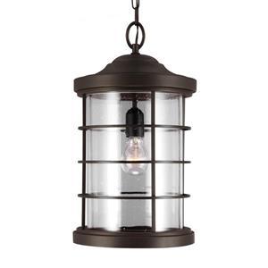 Sea Gull Lighting Sauganash Antique Bronze Transitional Seeded Glass Lantern Pendant