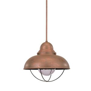 Sea Gull Lighting Sebring Weathered Copper Transitional Seeded Glass Warehouse Pendant