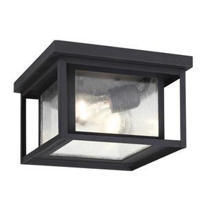 Sea Gull Lighting Hunnington 16.25-in W Black Outdoor Flush-Mount Light