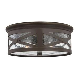 Sea Gull Lighting Lakeview 13-in W Antique Bronze Outdoor Flush-Mount Light
