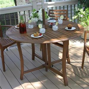Outdoor Interiors Round Extendable Table Dining Table 48-in W x 48-in L with Umbrella Hole