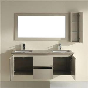 Spa Bathe BACH High-gloss light brown Double Sink Vanity with Coffee Quartz Top (Common: 63-in x 22-in)
