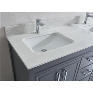Spa Bathe Cora French gray Double Sink Vanity with Off-white/grey veins Engineered Stone Top (Common: 60-in x 22-in)