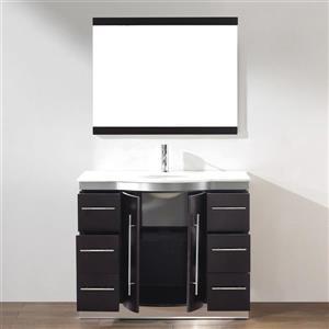 Spa Bathe Delucia Chai Single Sink Vanity with Nougat Quartz Top (Common: 42-in x 22-in)