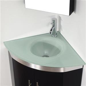 Spa Bathe Delucia Chai Single Sink Vanity with Mint green Glass Top (Common: 24-in x 24-in)