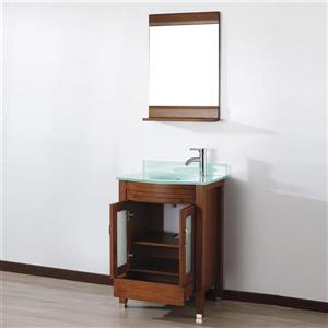 Spa Bathe ELVA Classic cherry Single Sink Vanity with Mint green Glass Top (Common: 24-in x 19-in)