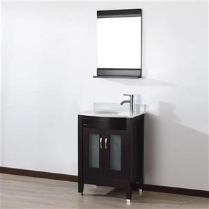 Spa Bathe ELVA Chai Single Sink Vanity with Italian Carerra white/gray Natural Marble Top (Common: 24-in x 19-in)