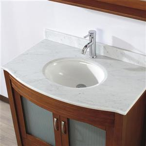 Spa Bathe ELVA Classic cherry Single Sink Vanity with Italian Carerra white/gray Natural Marble Top (Common: 36-in x 22-in)