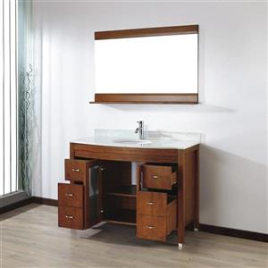 Spa Bathe ELVA Classic cherry Single Sink Vanity with Italian Carerra white/gray Natural Marble Top (Common: 48-in x 22-in)