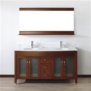 Spa Bathe ELVA Classic cherry Double Sink Vanity with Italian Carerra white/gray Natural Marble Top (Common: 63-in x 22-in)