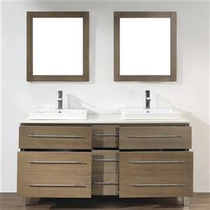 Spa Bathe Grada Smoked ash Double Sink Vanity with Nougat Quartz Top (Common: 63-in x 22-in)