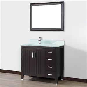 Spa Bathe JAQ Chai Single Sink Vanity with Mint green Glass Top (Common: 36-in x 22-in)