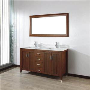 Spa Bathe JAQ Classic cherry Double Sink Vanity with Italian Carerra white/gray Natural Marble Top (Common: 60-in x 22-in)