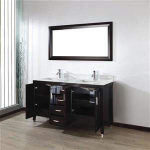 Spa Bathe JAQ Chai Double Sink Vanity with Italian Carerra white/gray Natural Marble Top (Common: 60-in x 22-in)