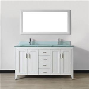 Spa Bathe JAQ White Double Sink Vanity with Mint green Glass Top (Common: 60-in x 22-in)