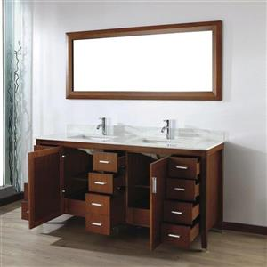 Spa Bathe JAQ Classic cherry Double Sink Vanity with Italian Carerra white/gray Natural Marble Top (Common: 72-in x 22-in)
