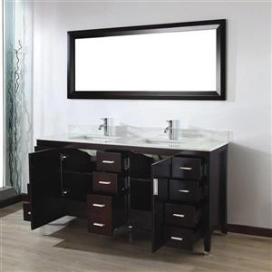 Spa Bathe JAQ Chai Double Sink Vanity with Italian Carerra white/gray Natural Marble Top (Common: 72-in x 22-in)