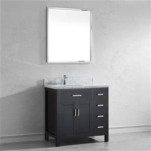 Spa Bathe Kenzie Espresso Single Sink Vanity with Italian Carerra white/gray Natural Marble Top (Common: 36-in x 22-in)
